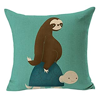 ACVIP Cotton Linen Square Cushion Case Cover Home Sofa Decorative 43cm*43cm (Sloth Tortoise)