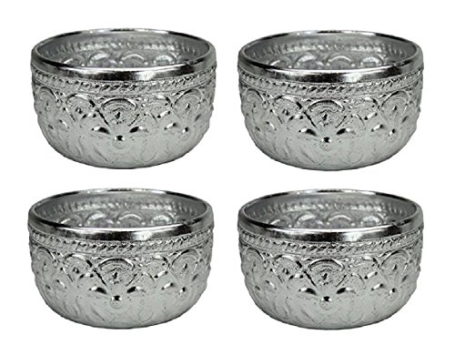 4 x Original Thai Gobelet couleur argent Volume : env. 0,4 l – Quaich Coupe en verre