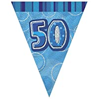 ****OVER 7m of SUPER BLING FLAG BUNTING in DAZZLE BLUE, PINK or BLACK - 13th to 100th - 24 PENNANTS - FREE UK POSTAGE**** (50th Birthday, Blue)