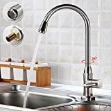 Auralum Modern Cold Water Taps Kitchen Sink Taps Brushed Steel Kitchen Sink Tap Luxury Chrome Faucets Spout Brass Faucet with Ceramics