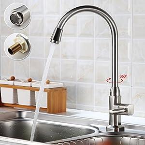 Auralum® Elegante de Alta Calidad Grifo Cocina Grifo de Agua Fría del Grifo del Fregadero para el Fregadero de la Cocina(solo de agua fría)