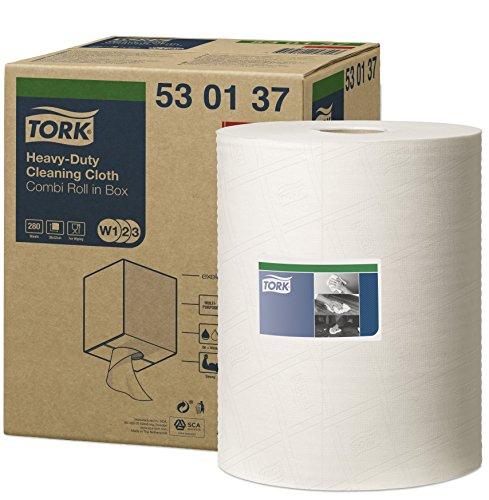 Tork 530137 Chiffon de nettoyage extra résistant Premium, compatible avec les systèmes W1 et W2 / un pli - 106,4m x 32cm - 1 bobine - Blanc