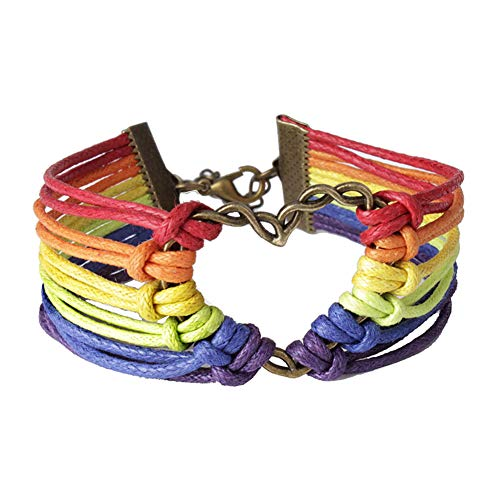 Yimosecoxiang Homosexuell Regenbogen Armband Stolz Herz Charm Multilayer Regenbogen Seil Armband Armreif Lesben Schmuck Mehrfarbig