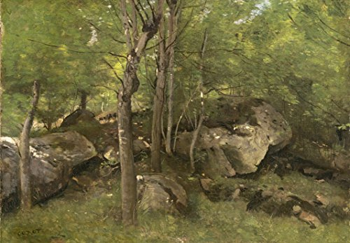 Puzzle 100 Teile - Jean-Baptiste-Camille Corot: Rocks in the Forest of Fontainebleau, 1860-1865 -