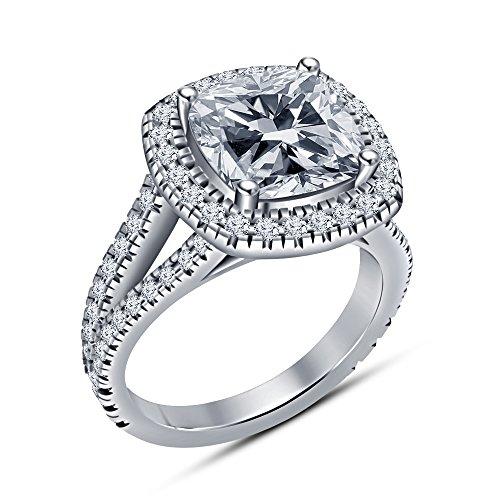 Kissen & rund Cut CZ Solitaire Ring mit Akzenten in Platin vergoldet 925Sterling Silber aus Vorra Fashion -