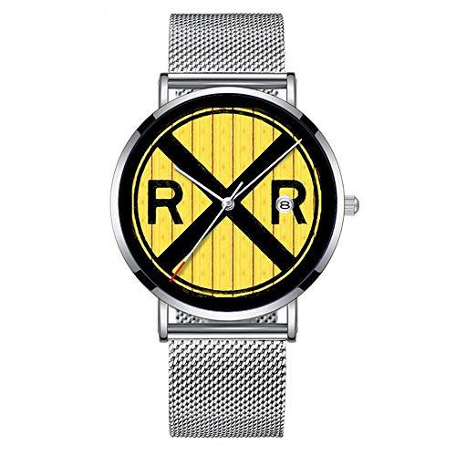 Minimalistische Fashion Quarz-Armbanduhr Elite Ultra Dünn Wasserdicht Sport Uhr mit Datum mit Netzband 473.Holz Eisenbahn Kreuzung Zeichen Armbanduhr