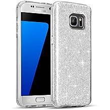 Samsung Galaxy S7 Custodia, Sunroyal® UltraSlim Glite Bling Soft Mat TPU Silicone Case Cover per Samsung Galaxy S7 (2016) G930F Morbido Protettiva Cassa e Cristallo Bling Strass, Maze Argento