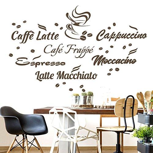 Wandaro W3439 Wandtattoo Wandsticker Wandaufkleber Kreativset Kaffeesorten Caffè Latte Latte Macchiato Moccacino Cappuccino Espresso Café Frappé Küche Esszimmer braun Kreativset