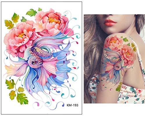 EROSPA® Tattoo-Bogen temporär / Sticker - Fisch Blumen - Wasserfest