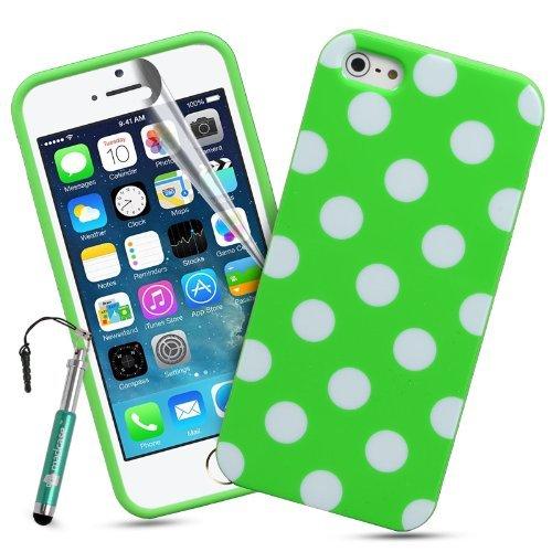 Madcase Coque rigide en silicone pour iPhone 5/5s Film protecteur d'écran inclus Motif à pois Jaune Vert