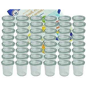 MamboCat 48er Set Weck Gläser 140 ml Sturzgläser mit 48 Glasdeckeln incl. Diamant-Zucker Gelierzauber Rezeptheft