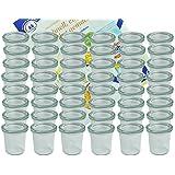 48er Set Weck Gläser 140 ml Sturzgläser mit 48 Glasdeckeln incl. Diamant-Zucker Gelierzauber Rezeptheft