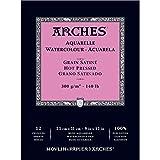 Arches blocco per acquerello incollato 1 lato (12 fogli) - grana satinata - 300 g/mq -  23 x 31 cm