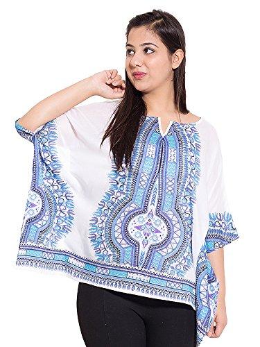 KASHANA Rayon Staple White Blue Printed Plus Large Size Kaftan Top For...