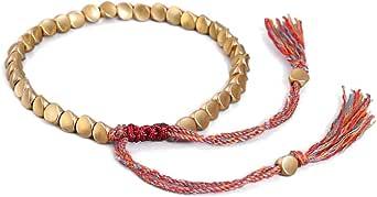 LINONI Braccialetto tibetano tibetano unisex fatto a mano, con perline di rame irregolari intrecciate e perline di rame portafortuna nodo nodo nodo braccialetto per donne e uomini
