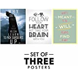 Motivational Posters For Office And Study Room - Set Of 3 Inspirational Wall Quotes| Home Decor |Quotes Decorative Poster - B078Y3CQHW