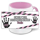 Büro-Tasse mit Namen Tanja und schönem Motiv - Nr. 4 - Finger weg , diese Tasse gehört ... , Farbe: rosa