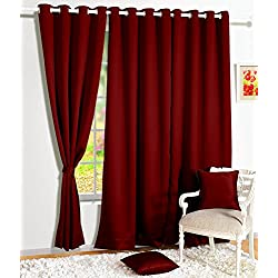 Story@Home Blackout Solid 2 Piece Silk Door Curtain Set - 7ft, Maroon