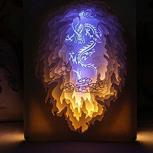 OOFAY LIGHT® Licht und Schatten Papier Geschnitzt Lampe Drache durch die Wolke Nachttisch dekorative Lampe DIY Geburtstag kreative 3D Nachtlicht Fernbedienung Valentinstag Geburtstagsgeschenk -