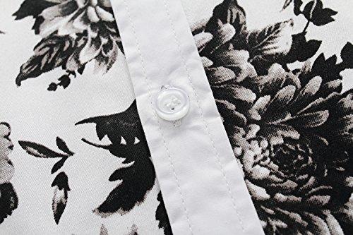 SSLR Herren Blumen Baumwolle Freizeit Regular Fit Button Down Kurzarm Hemd Weiß Schwarz