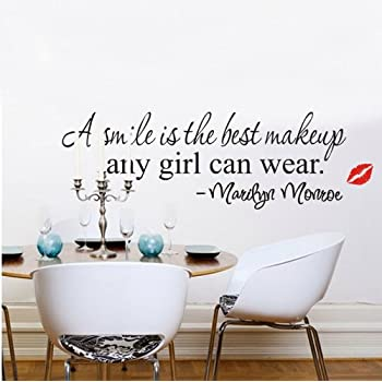 Homgaty Marilyn Monroe A Smile Is The Best Makeup Vinyl Wall Sticker Mural Decal  Art Wallpaper For Home/Room/Office Nursery Decoration  The Perfect Birthday  ... Part 78