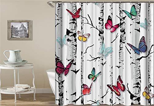 ZZZdz Karikaturdekoration. Weißer Hintergrund. Schwarzer Kofferraum Viele Farbige Schmetterlinge Fliegen. Bodenmatte, Badmatte, Küchenmatte, Rutschfest, Plus Samt, 40X60Cm. (Hintergrund Duschvorhang)