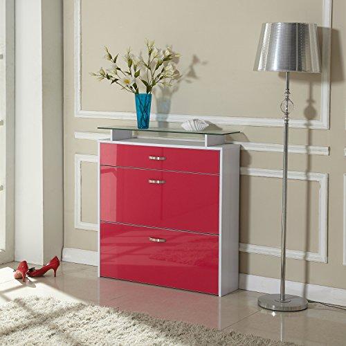 Zapatero 89x23x96cm Gabinete Organizador de Zapatos 16 Pares Rojo Vino y Blanco