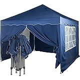 INSTENT Pavillon, Faltpavillon 3x3m, Wasserdicht (Din ISO Zertifiziert), Auswahl: Seitenteile + Farbe, versiegelte Nähte, Weiß Champagner Blau Grün Burgund Anthrazit