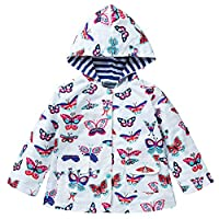 Whhhherr Little Girls Butterfly Printed Long Sleeve Waterproof Jacket Hooded Raincoat