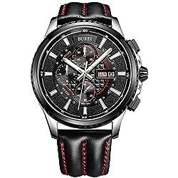 BUREI Herren Armbanduhr Quarz schwarz mit Lederarmband schwarz SM-17003-P07EY