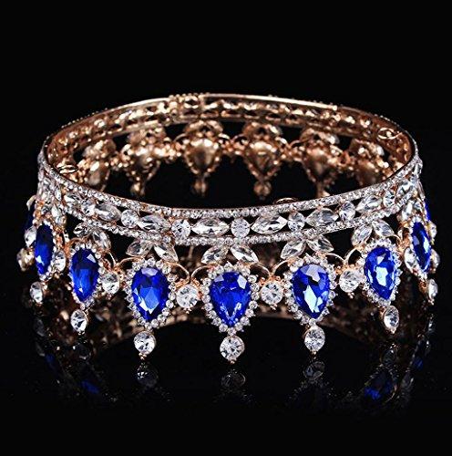 Dairyshop Accessori nuziali di capelli del diadema della parte superiore della regina della fascia del Rhinestone nuziale dell'annata (Argento Blu) Blu Oro