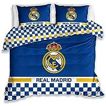 Juego de Funda de edredón de 200 x 200 cm, diseño del Escudo Real Madrid