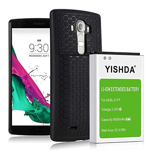 YISHDA LG G4 Battery Case, 6600mAh Li-ion Replacement BL-51YF Battery for  LG G4 US991 H812 H815 H810 H811 LS991 VS986 With Back Cover & Protective
