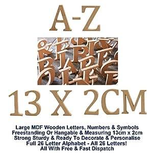 En bois complet 26Lettre Alphabet A-Z Lettres 13cm x 2cm sur pied à suspendre en bois MDF