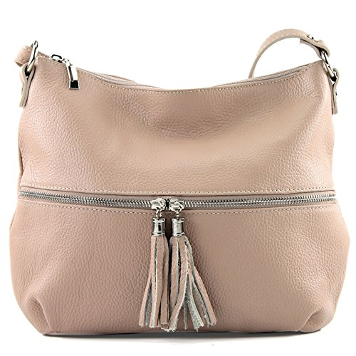 modamoda de - ital. Ledertasche Damentasche Umhängetasche Tasche Schultertasche Leder T159 Rosabeige