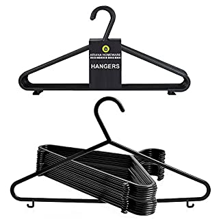 ARIANA HOMEWARE Faril 20x Adult Coat Hangers Black Colour Strong Plastic Clothes with Suit Trouser Bar and Lips (36cm Wide), s, S