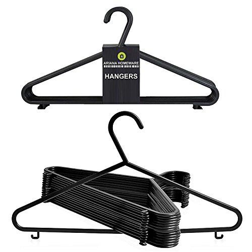 Ariana Pack de 20perchas de plástico, para adulto, Negras, (37cm de ancho) diseñadas para ropa delicada