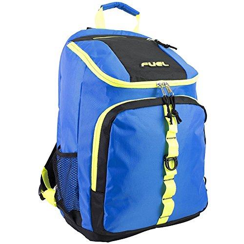 Imagen de fuel  de cargador superior con compartimiento para portátil,  de senderismo,  deportiva,  escolar,  de viaje  azul con bordes azul claro