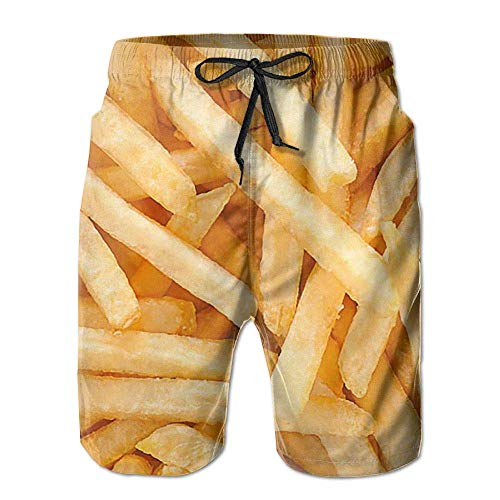 Fast Food Chips Men's Beach Shorts Swimming Trunks Dry Fit Board Shorts with Lining(XL) -