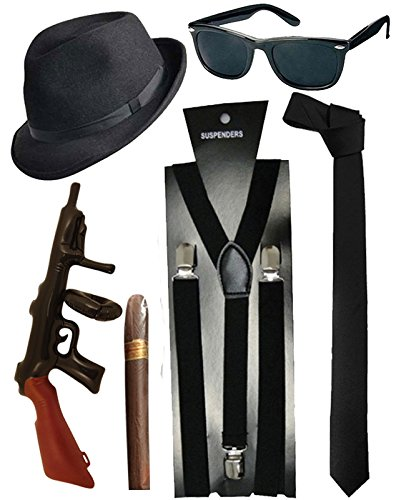 Blues Brother Hut Brille Schwarze Krawatte Hosenträger Zigarren Tommy gun Gangster ()