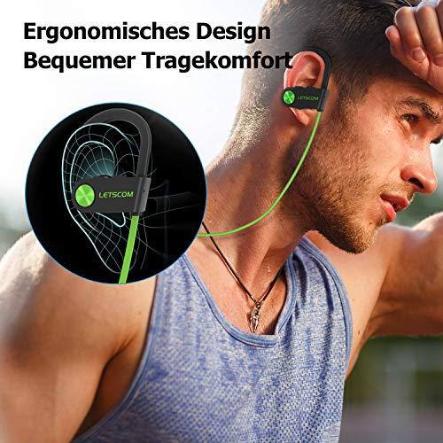LETSCOM Bluetooth Kopfhörer in Ear IPX7 wasserdicht kabellos Sport-Kopfhörer Bluetooth 4.1 HiFi-Bass Stereo schweißfest mit Mikrofon Geräuschunterdrückung Headset für Laufen Fitnessstudio MEHRWEG Bild 4*