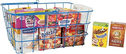 Unbekannt Kaufmannsladen / Kaufladen Zubehör Mini Metallkorb prall gefüllt großes Set mit Miniaturschachteln von Lebensmittel, Süßigkeiten, Waschmittel, Torten, Eis, Pizza UVM.