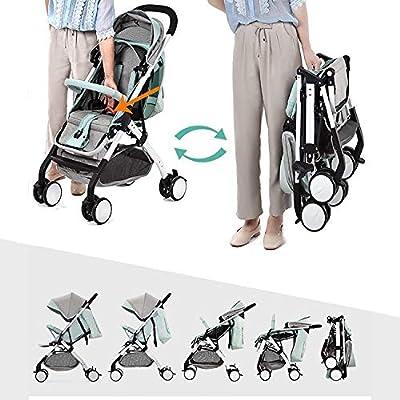 XYL Silla de Paseo Plegable Doble para niño/bebé con una combinación de Canasta de Almacenamiento Grande Arnés de Cinco Puntos Tragaluz Grande Cochecito cómodo,Gris