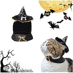 Hillento Linda Bruja de Capa con Capucha, Disfraz de Brujo de Halloween para Perros pequeños y Gatito Gato, Disfraz de Gato