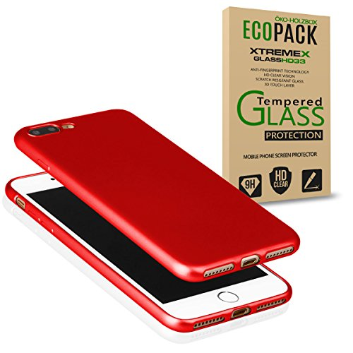 EGO® Luxury Case Slim pour le téléphone iPhone 7 Plus noir Matt Metallic Silikon Bumper coquille couverture Anti-empreintes satin non-slip arri?re Rouge + verre trempé