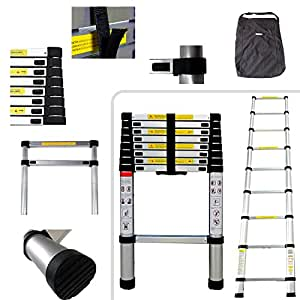 Todeco - Telescopic ladder, Échelle Pliable - Charge maximale: 150 kg - Standards/Certifications: EN131 - 2,6 mètre(s), Sac de transport OFFERT