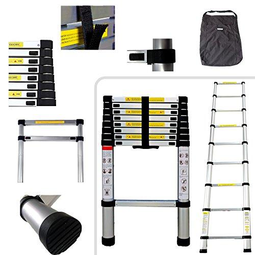 Todeco - Escalera Telescópica, Escalera Plegable - Carga máxima: 150 kg - Estándar/Certificación: EN131 - 2,6 Metro(s), Bolsa de transporte GRATIS, EN 131