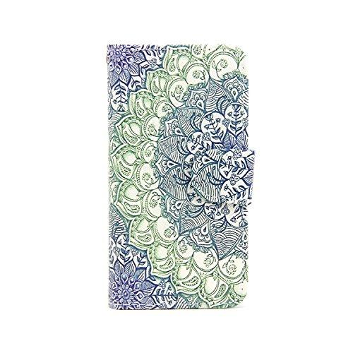 Etche Schutzhülle für Apple iPhone 5C Hülle,Apple iPhone 5C HandyHülle bunt Muster,Apple iPhone 5C Brieftasche Ledertasche, Luxus niedlich Cartoon PU Leder Cover Wallet Flip Case Tasche Schutzhülle Hü Blau Blumen