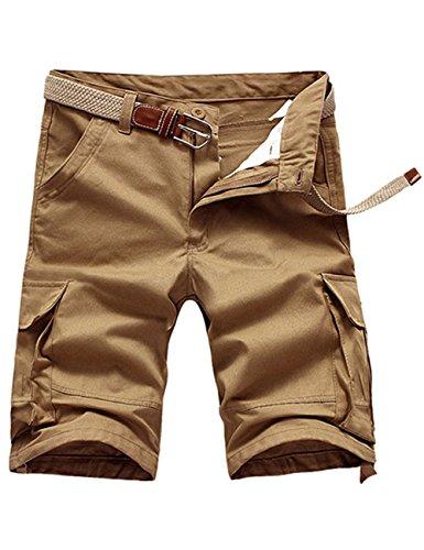 Menschwear Herren Vintage Cargo Shorts Bermuda Kurze Hose Sommer Kurze Hose (32, Dunkel Khaki) (Duck Hooded Jacket Brown)