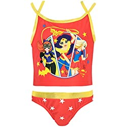 DC Comics - Bañador de dos piezas para niña - DC Superhero - 7 - 8 Años